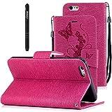Slynmax Coque iPhone 6s Plus Wallet, iPhone 6 Plus,PU Cuir [Papillons et Fleurs] en...