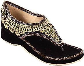 GIGANTIC Goyal Enterprises Women's Black Velvet Rajasthani Sandal (002)