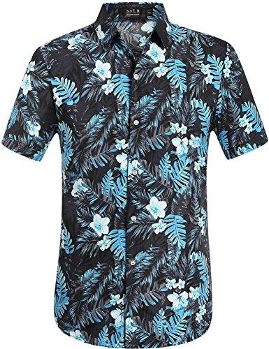 rucke Freizeit Kurzarm Aloha Hawaii Hemd (Large, Grau) (Halloween Hawaii-shirt)