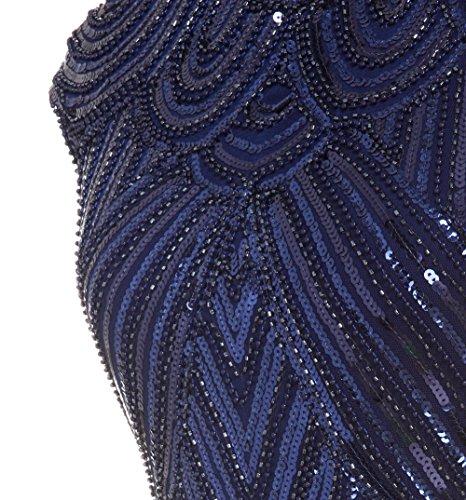 FAIRY COUPLE 1920 Pailletten verschönert Quasten Falten Flapper Kleid D20S002 Marineblau