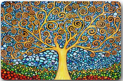 "amazing tree of life mosaic art Mat Floor Mat Door Mat Neoprene Rubber Non Slip Backing Machine Washable (23.6""x15.7"",L x W)"