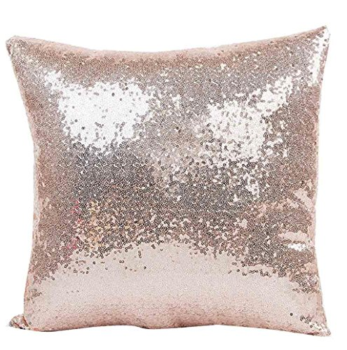 Hippolo Solid Color Glitter Pailletten Dekokissen Fall Cafe Home Decor 40cm*40cm Kissenbezüge (Khaki)