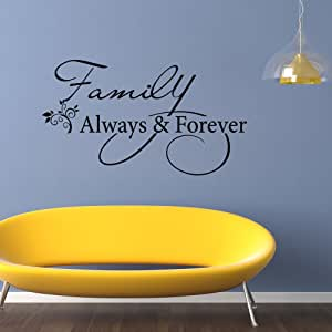 "/""Family Always Forever/"" Removable Wall Stickers Quote Wall Decal Art Mural Decor"