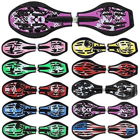Waveboard Original FunTomia mit Mach1 Lager inkl. Tasche und CD (Es stehen verschiedene Farbdesigns zur auswahl) (Lila / Blumen Design - mit LED