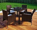 VCM Poly Rattan 90x90 Gartenmöbel Essgruppe Sitzgruppe Glas Rattanmöbel Gartenset 4 Stühle + 1 Tisch, Braun