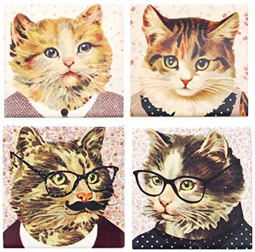Sass & Belle Satz Von 4 Keramisch Untersetzer Coasters - Dressed Up Katze Cats