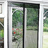 Magic Curtain Door Mesh Magnetic Fastening Hands Free Fly Bug Insect Screen Black with Pelmet