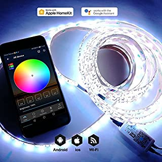 WiFi LED strip lights controller work with Alexa/Google home Android and IOS Colorful color 300 led string lights kit 5M for Garden Home Kitchen Bar Party