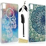 2 x BQ Aquaris E5 Funda Transparente Dura Plástico PC Case (No para 4G LTE) - Mavis's Diary® Funda para móvil Carcasa Resistente a los Arañazos Diseño de Flor de campanilla y tótem + 1 x Lápiz óptico + 1 x Tapón Antipolvo