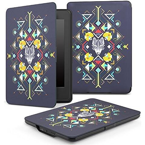 MoKo la Más Delgada y Ligera Funda para Amazon Kindle Paperwhite (compatible con todas las generaciones de Kindle Paperwhite), Tótem del Lobo Índigo