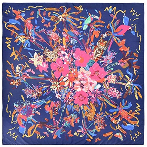 SHZSMHD 130 * 130CM Luxusmarke 100% Twill Silk Woman Scarf Square Scarves Vogel Hommage an die Phönix Silk Scarf & Wraps Veil Navy