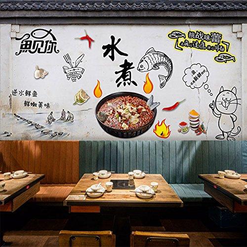 Poowef 3D Wallpaper 3d-Charakter Graffiti gegrillter Fisch wallpaper gekochter Fisch Wandmalereien Szechuan Restaurant Grill gegrilltes Fleisch Hot Pot Restaurant Hintergrundbild