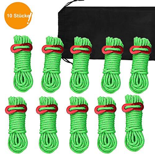JTENG 8 Stück abspannseile abspannleine zeltseil mit Einem Aluminiumteller Reflektierendem Ø 4mm Länge 400mm spannseile Leuchtend Spannschnur für Zelt Camping (10 pcs Green)