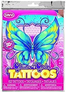Glitter4Girls Girls Temporary Tattoos - 50+ assorted glitter tattoos