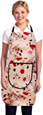 Super India Modern PVC Waterproof Kitchen Apron with Front Pocket, Beige
