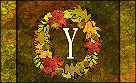 Toland Home Garden Fall Wreath Monogram Y 18 x 30-Inch Decorative USA-Produced Standard Indoor-Outdoor Designer Mat