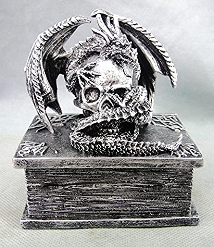 Silver Jewellery Box with Dragon around a Skull on a Book