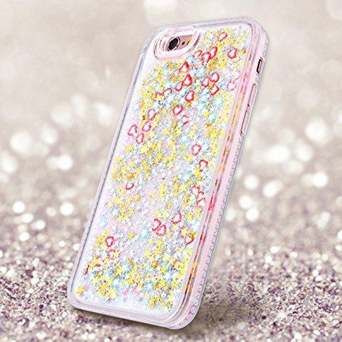 Yokata iPhone 6 / iPhone 6s Hülle Transparent Glitzer Flüssig Hardcase für Mädchen 3D Kreative Treibsand Liquid Bling Handyhülle Crystal Handy Tasche Weiche Silikon Soft Flexible TPU Bumper mit Diaman Silber
