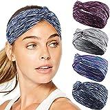 Bascolor Stirnband Damen elastische Haarband Kopfband Weich Turban Stirnband für Alltag Yoga Sport...