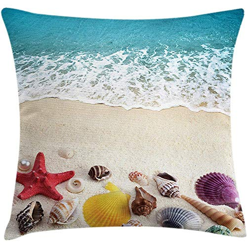 Throw Pillow Beach Cushion Cover, Sea Shells on Sandy Coast Tropical Island Shore Summertime Travel Vacation Picture, Decorative Square Accent Pillow Case,Multicolor Size:16X16 Inches/40X40cm