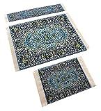 Set Blue Woven Rug Mouse Pad + Rug Coaster + Rug Bookmark - Persian Style Carpet Mousemat Miniature Rug