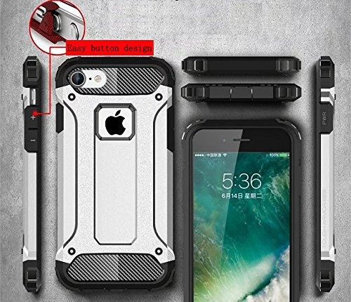 KIO iPhone 7 Custodia – [angoli rinforzati] Heavy Duty protezione Custodia Morbido in gomma & Hard PC Cover flessibile Shock Absorption ammortizzatori per iPhone 7 iPhone 7 P-6 P-1
