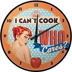 Nostalgic-Art 51064 - Reloj de pared (31 cm), diseño con texto I Can't Cook, Who Cares?