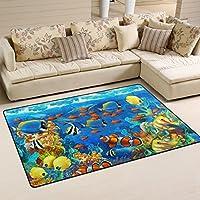 COOSUN Under Water Fishes In Ocen Sea Tropical Area Rug Carpet Non-Slip Floor Mat Doormats for Living Room Bedroom 152.4 x 99.1 cm (60 x 39 inch)