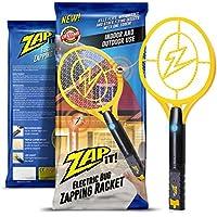 ZAP IT! Elektronische Fliegenklatsche, Wiederaufladbar über USB, gegen Mücken, Fliegen und Käfer, 4000 V, superhelles LED-Licht