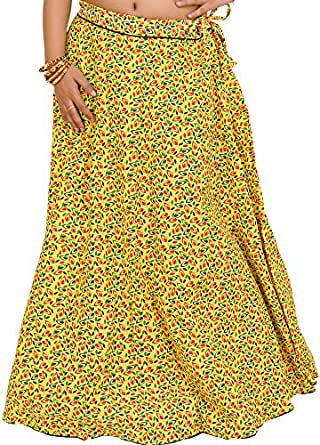 Exotic India Drawstring Long Ghagra Skirt with Printed Leaves and Piping