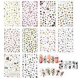 VINFUTUR 10 Fogli Adesivi per Unghie Nail Stickers Adesivo Decalcomanie Decorazione Decals Nails Fai da Te Arte Unghie Autoadesivi Nail Art