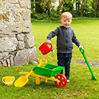 TREMENDOUS TOYS KIDS WHEEL BARROW & GARDEN SET WITH WATERING CAN FOR AGES 3 PLUS