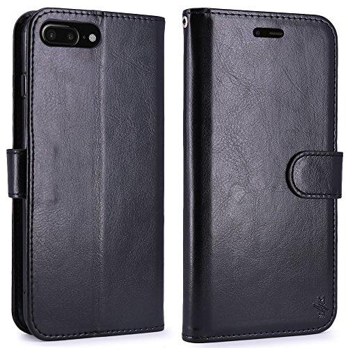 LK per Custodia iPhone 8 Plus / iPhone 7 Plus, Case in Pelle PU di Lusso Portafoglio con Fessure di carta Cover Protettiva - Menta Nero