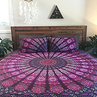 ndian Mandala DOUBLE Reversible Duvet Quilt Cover Bedding Set Ethnic Bohemian with pillows cover - inexpensive UK light store.