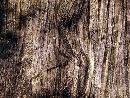 bestickt & Pailletten Tie Dye Samt Kleid Stoff braun–Meterware (Bestickt Tie Dye)