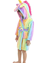 LANTOP Kid Soft Bathrobe Comfy Unicorn Flannel Robe Hooded All Seasons Gift 578798a90