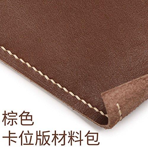 HOOM-Homme sac à main en cuir fait main bricolage créatif wallet purse,couleur kaki b Brown a