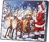 infactory LED Weihnachtsbild: LED-Bild Weihnachtsmann mit Rentierschlitten, 28 x 23 cm (LED Leinwand-Bilder)