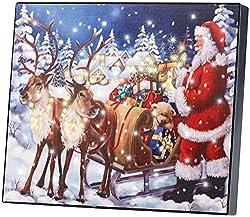 infactory Weihnachtsbild: LED-Bild Weihnachtsmann mit Rentierschlitten, 28 x 23 cm (Leuchtbild)