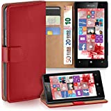 OneFlow Tasche für Nokia Lumia 520 / 525 Hülle Cover mit Kartenfächern | Flip Case Etui Handyhülle zum Aufklappen | Handytasche Schutzhülle Zubehör Handy Schutz Bumper in Hellrot