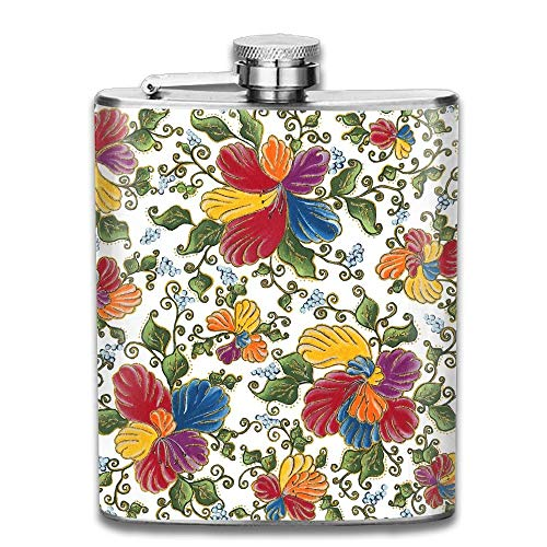 Edelstahl Flachmann 7 Unzen (kein Trichter) Blume Kunst voll gedruckt (Benutzerdefinierte Gedruckte Taschen)