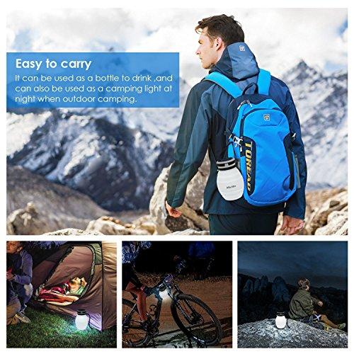 Albrillo LED Campinglampe faltbare Trinkflasche Solarleuchten Led Flasche Solar Flaschen, 3 Lichtmodi und IPX7, Weiß (Weiß) - 5