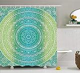Shower Curtain Duschvorhang Teal und Lime, Ombre Mandala Ethno Muster mit Blumen und Blütenblätter Hippie Style Art, Stoff Badezimmer Decor Set mit Haken, Blaugrün Lime und weiß 152,4x 182,9cm