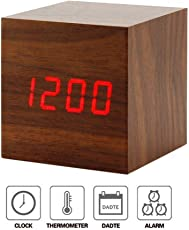 Home Cube® Wooden Square Shape (6 cm X 6 cm) Digital Electronic Alarm Table Desk Clock with Temperature + Date + Time Display XY - 022 (Brown)