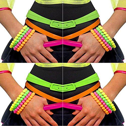 German Trendseller® - 16 x Perlen Armbänder ┃ 80er Jahre Neonfarben ┃ 16 er Set ┃ (Retro Girl 80er Kostüm Jahre)