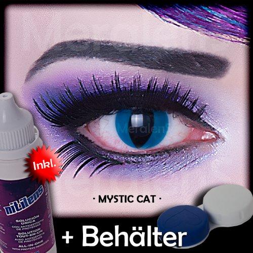 Meralens A0308 Mystic Cat Kontaktlinsen mit Pflegemittel mit Behälter ohne Stärke, 1er Pack (1 x 2 (Kostüme De Halowen)