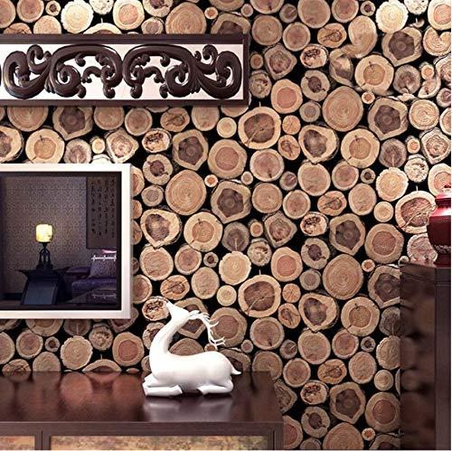 Lsfhb Super Thick 3D Holzstamm Textur Geprägte Pvc Wasserdichte Tapetenrollen Wohnzimmer Desktop-Wallpaper Wandbild 3D-400X280Cm