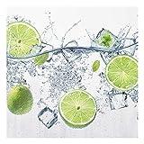Bilderwelten Spritzschutz Glas - Erfrischende Limette - Quadrat 1:1, Größe HxB: 59cm x 60cm