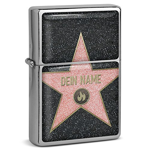 "PhotoFancy® - Sturmfeuerzeug Set mit eigenem Namen bedrucken lassen - Design \""Walk of Fame\"" - Benzinfeuerzeug mit Doming-Druck inkl. Metall-Geschenkdose"