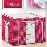 T-CFZH Falten extra große Aufbewahrungsbox Baumwolle 150 Liter Oxford Quilt Aufbewahrungsbox Stoff Stahlrahmen Kleidung Aufbewahrungsbox, 130L (verstärkte Vier Stahlrahmen), rote Welle Punkt